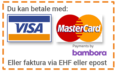 Betal med VISA eller MasterCard via Bambora Checkout eller velg faktura